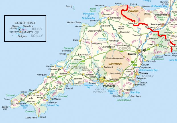 map of north devon and cornwall k 2017. Black Bedroom Furniture Sets. Home Design Ideas